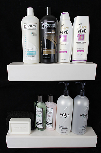 modern shower shampoo shelves